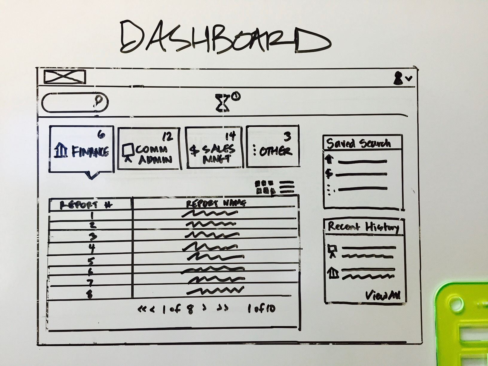 Fox Dashboard Whiteboard wireframe