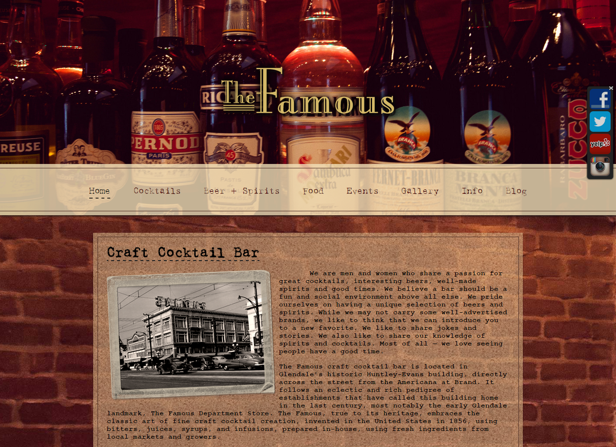 The Famous Craft Cocktail Bar Website