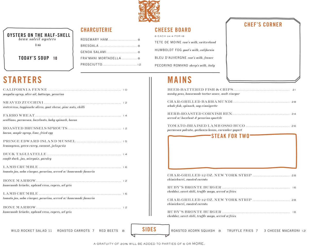 Kingswood NYC Menu