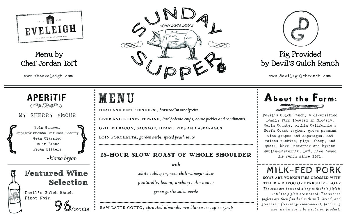 Sunday Supper Menu - Eveleigh