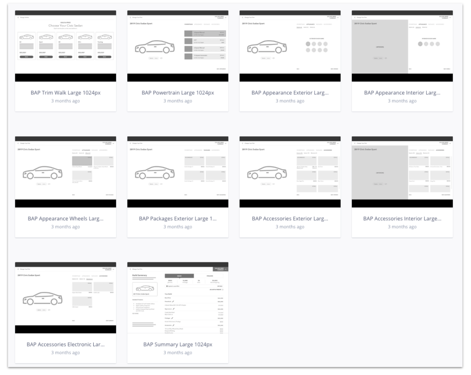 Honda Build and Price wireframes